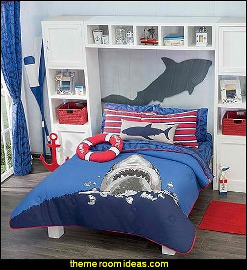 Best Decorating Theme Bedrooms Maries Manor Shark Bedrooms Shark Murals Shark Bedding Shark With Pictures