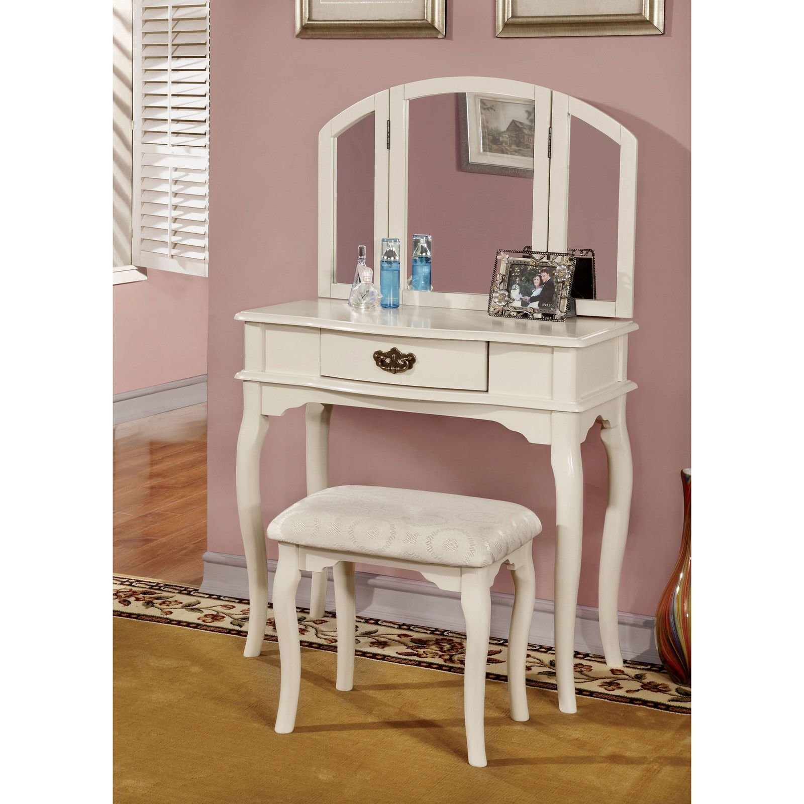 Best Bedroom Furniture For T**N Girls Vanity Table Set Stool With Pictures