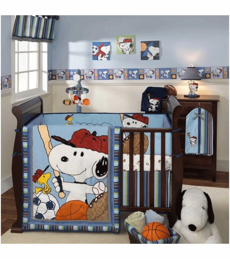 Best Lambs Ivy Team Snoopy 5 Piece Crib Bedding Set With Pictures