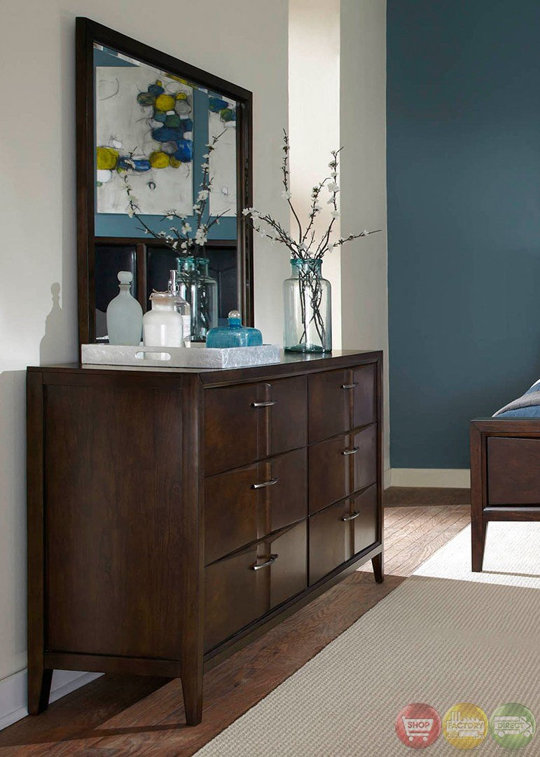 Best Arterra Contemporary Java Finish Wall Bedroom Set With Pictures