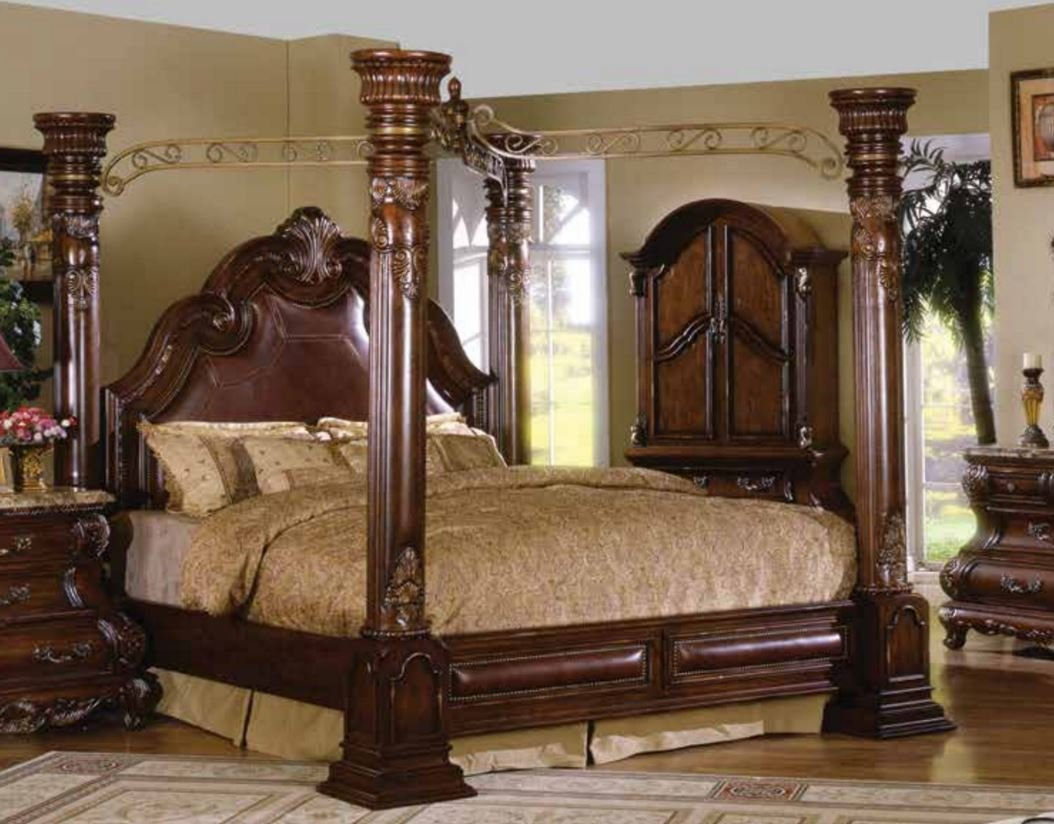 Best Caledonian Brown Cherry California King Poster Canopy Bed With Leather Accents Ebay With Pictures