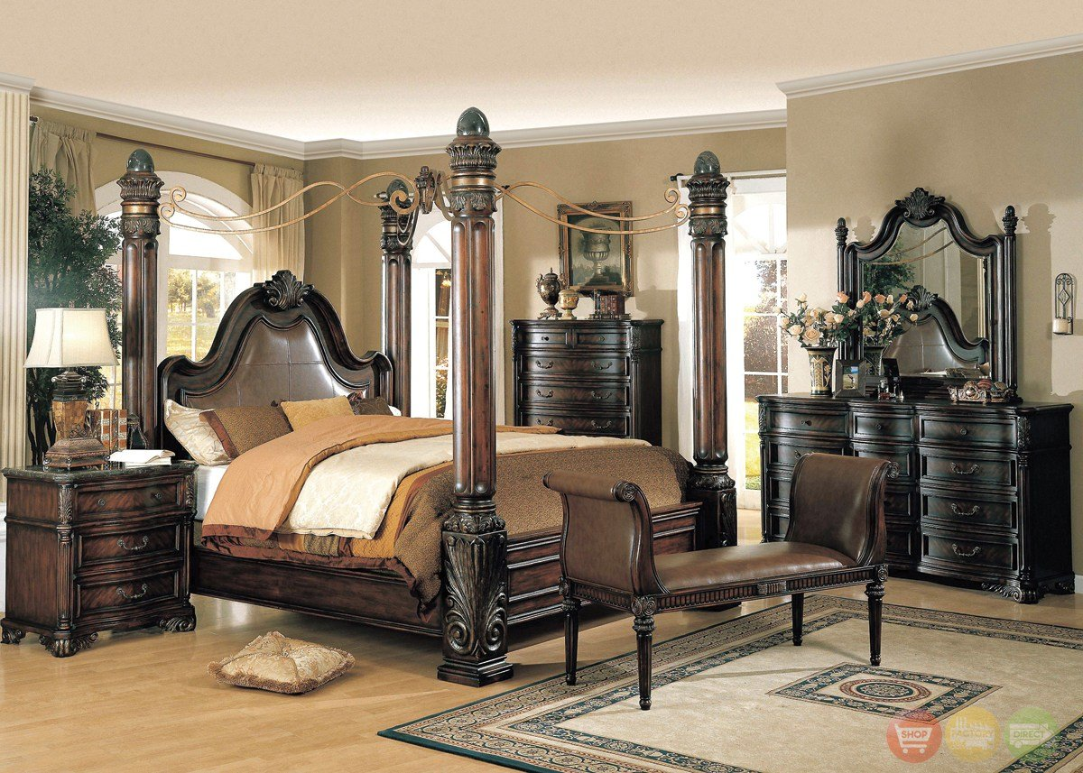 Best Fabiana Traditional Poster Canopy Leather Bedroom Set W With Pictures