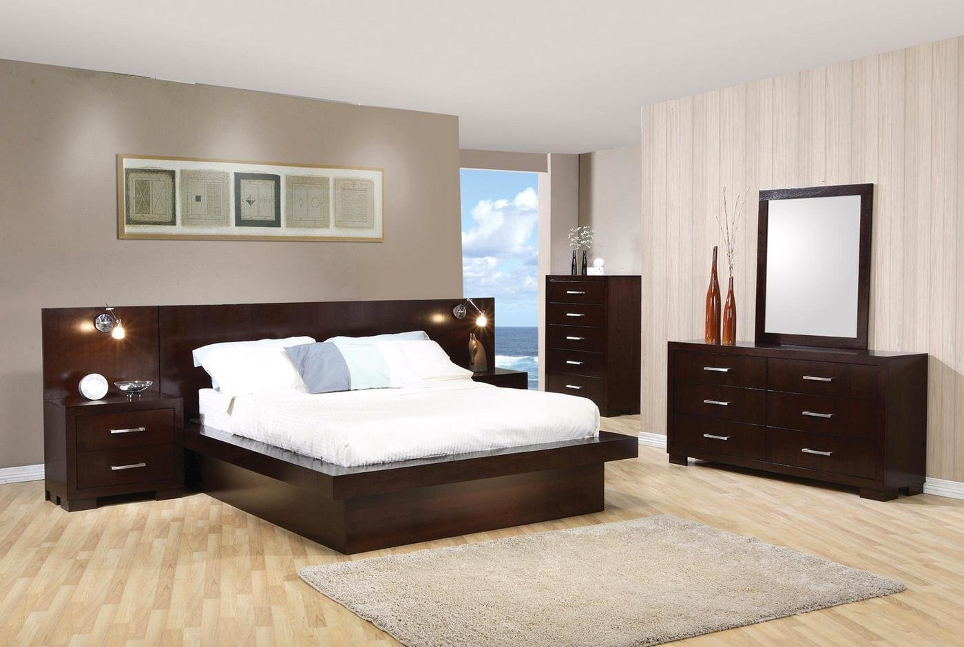 Best Jessica Modern Platform Cappuccino Finish Bedroom Set Free With Pictures