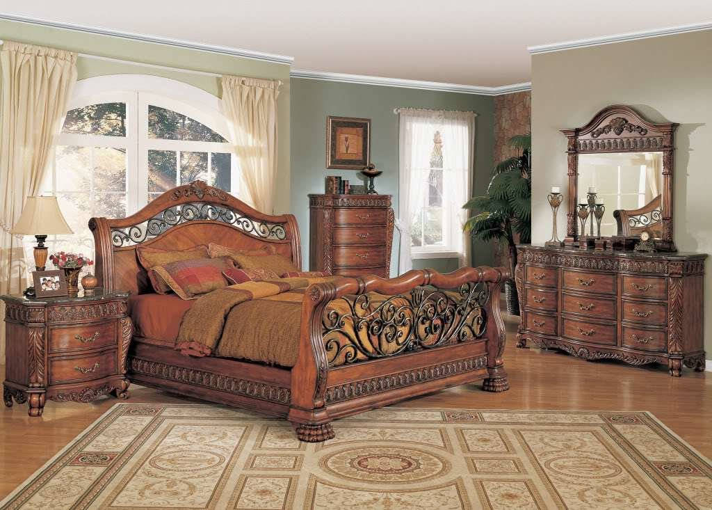 Best Nicholas Luxury Bedroom Set Cherry Finish Marble Tops Free With Pictures