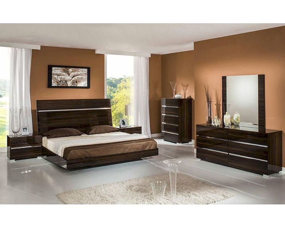 Best Contemporary Ebony Lacquer Bedroom Set 44B114Set With Pictures