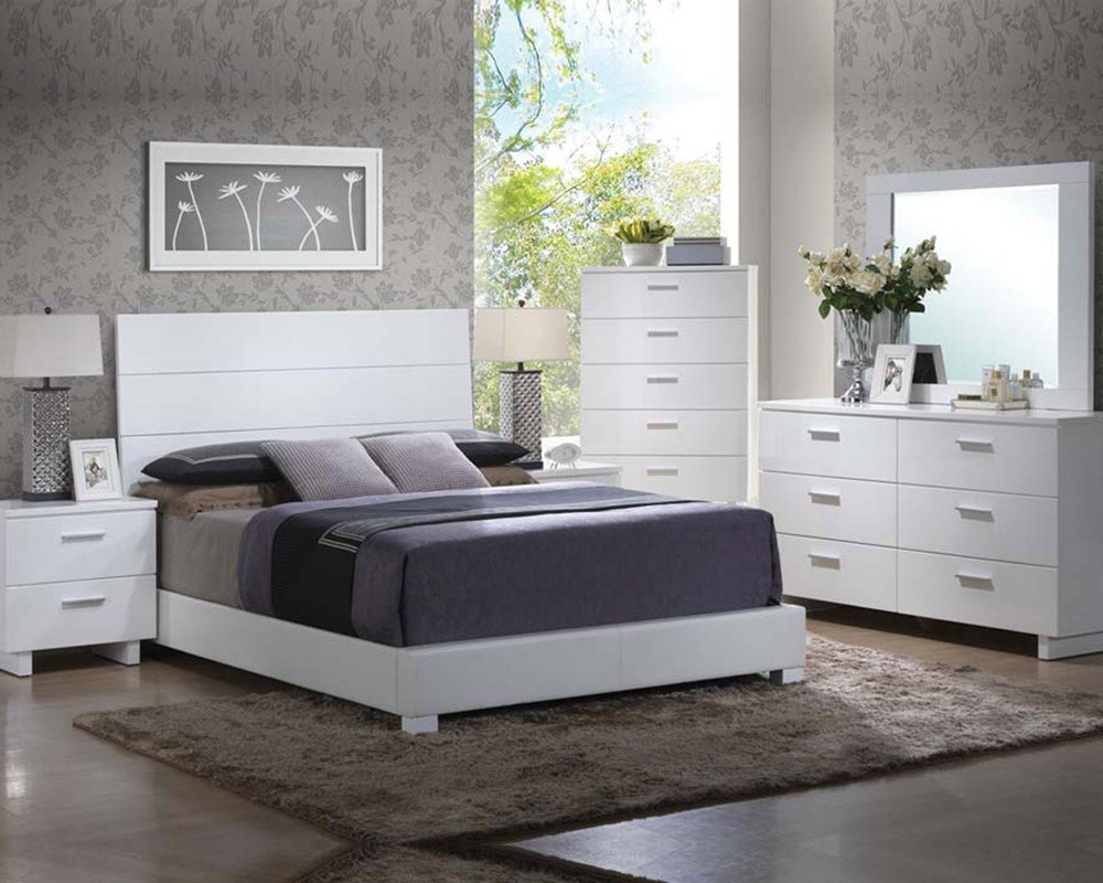 Best High Gloss White Bedroom Set Lorimar By Acme Furniture With Pictures
