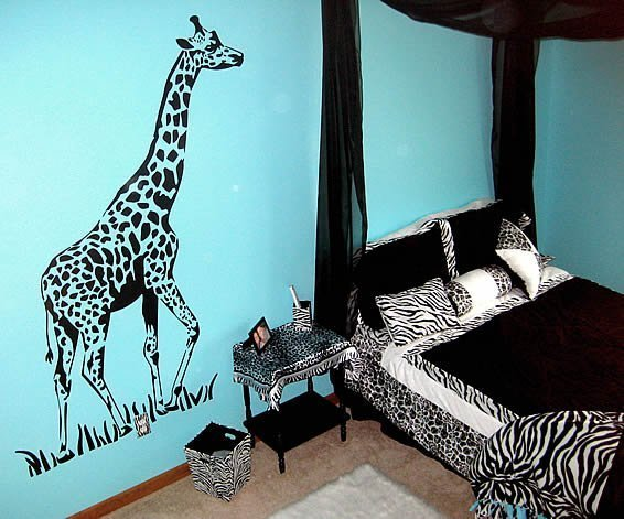 Best Jungle Bedroom With Giraffe Zebra Stickers Decor By With Pictures