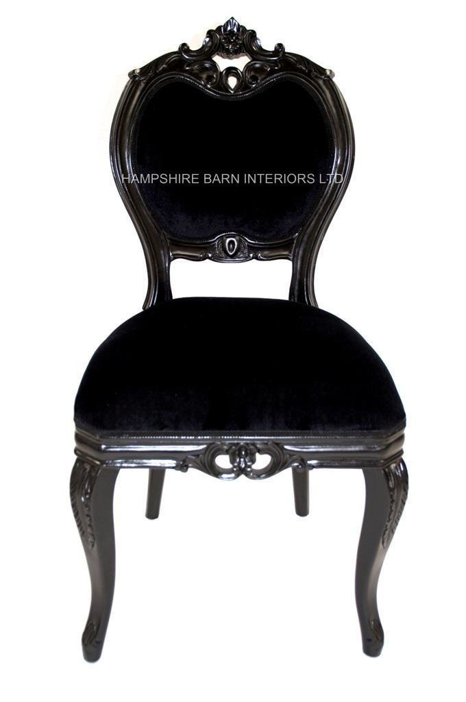 Best French Chateau Noir Style Ornate Chair Black Velvet With Pictures