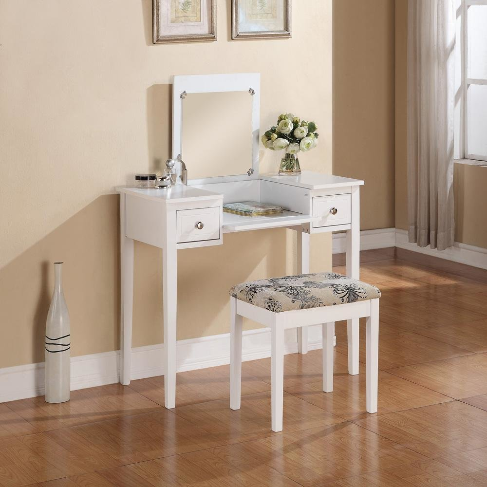 Best Linon Home Decor White Bedroom Vanity Table With Butterfly With Pictures