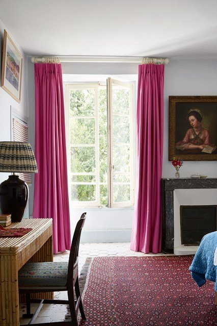 Best French Country White Bedroom With Pink Curtains In With Pictures