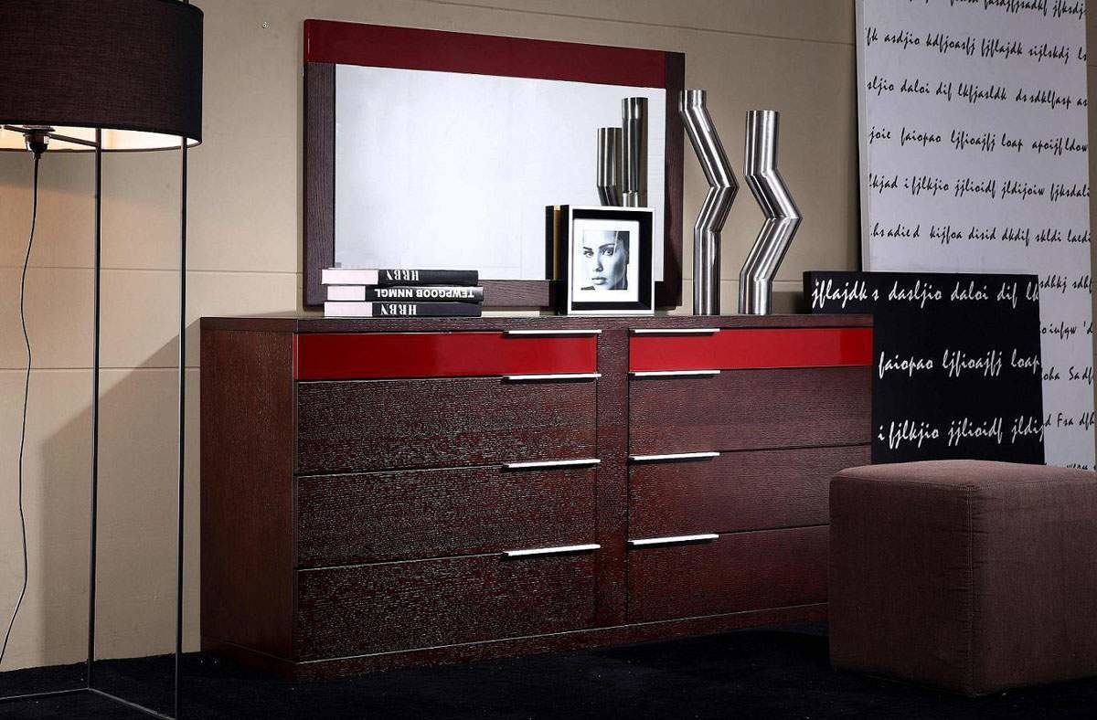 Best Eight Drawers Dresser In Wenge Wood Grain With Red Details With Pictures