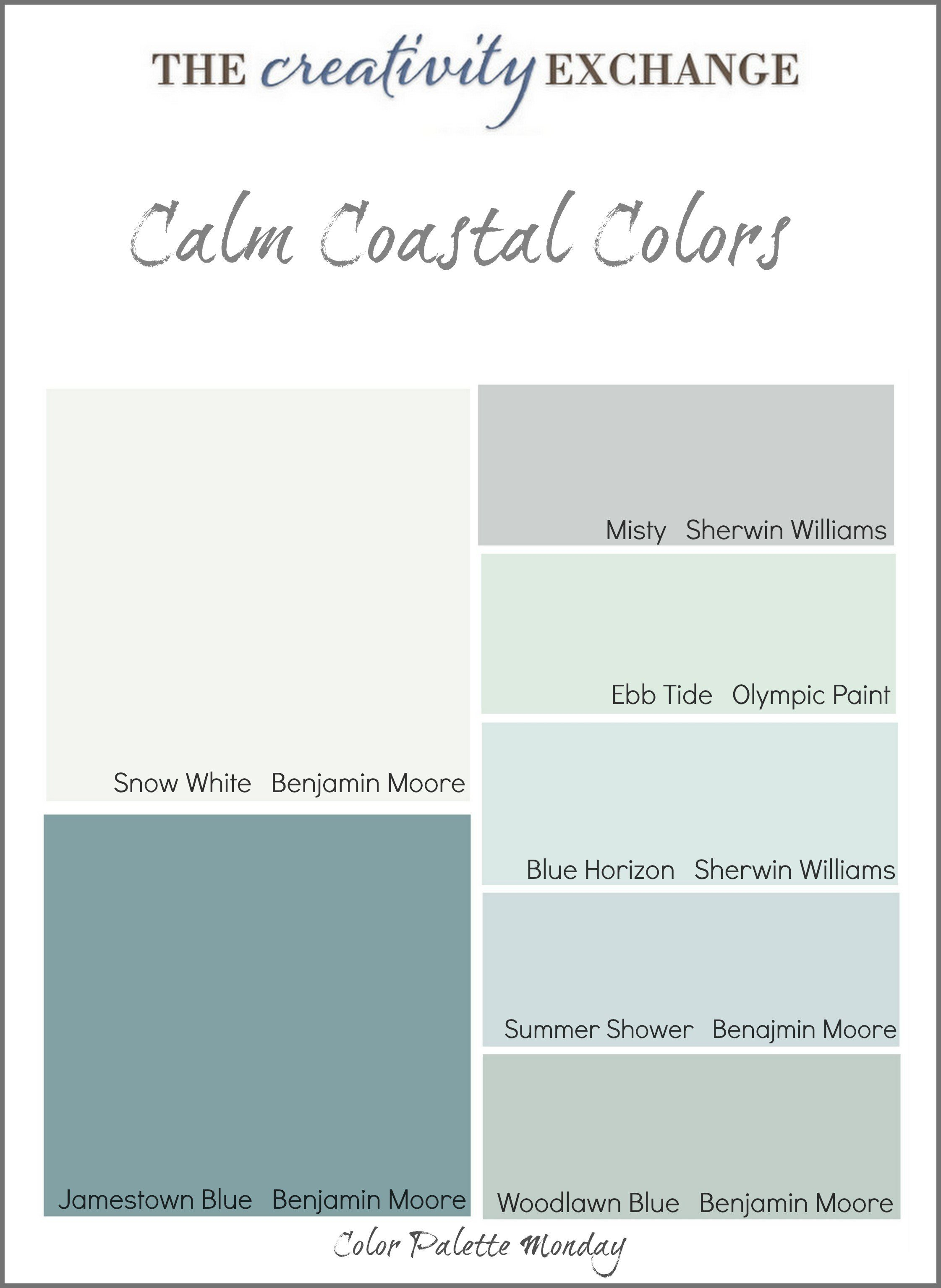Best Calm Coastal Paint Colors Color Palette Monday With Pictures
