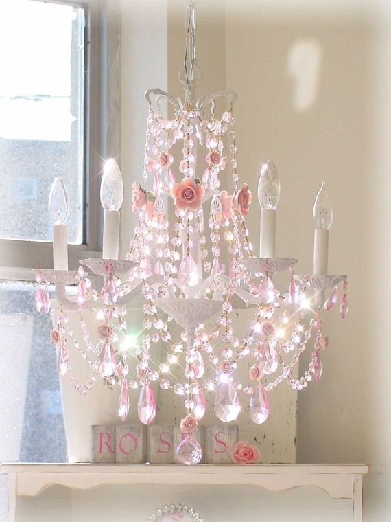 Best French Chandelier With Pink Roses And Pink Prisms The With Pictures