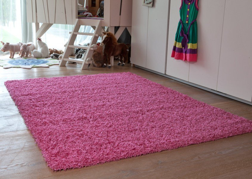 Best Small Large Pink Shaggy Rugs Easy Clean Soft Kids Bedroom With Pictures