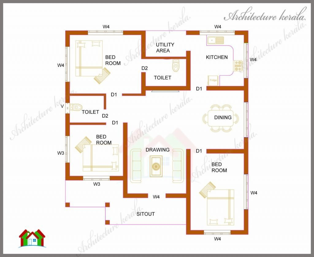 Best Unique Single Floor 4 Bedroom House Plans Kerala New With Pictures