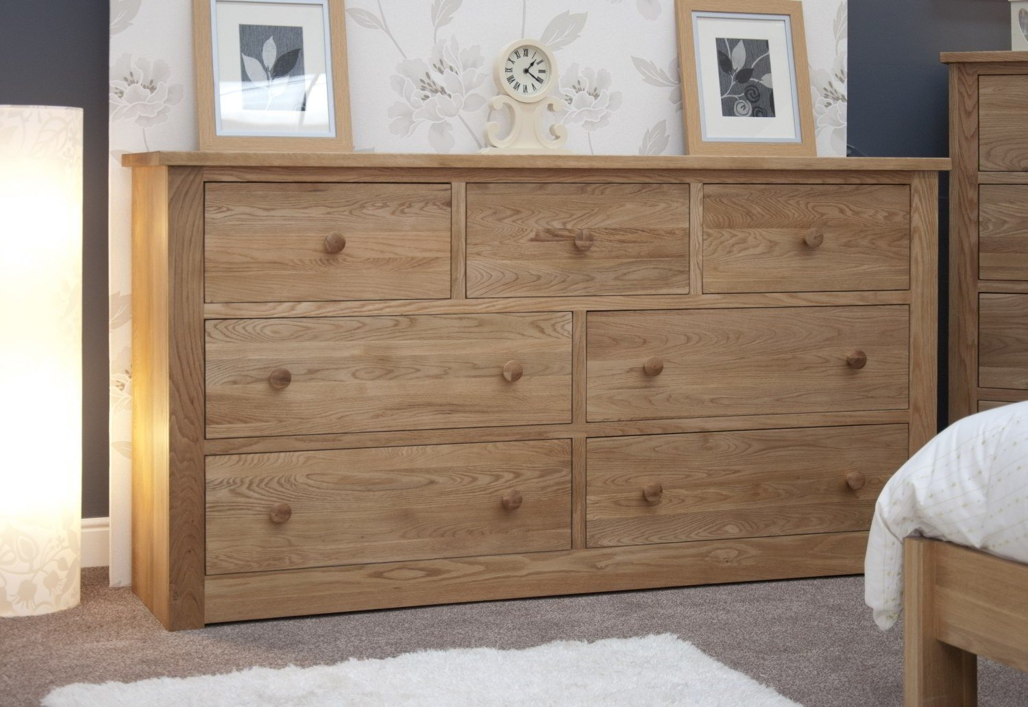 Best Kingston Solid Modern Oak Bedroom Furniture Deep Wide Chest Of Drawers Ebay With Pictures