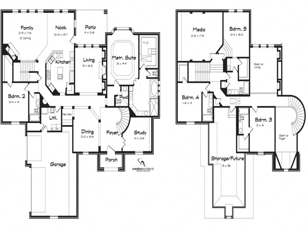 Best 5 Bedroom 2 Story House Plans Loft Bedrooms Simple Two With Pictures