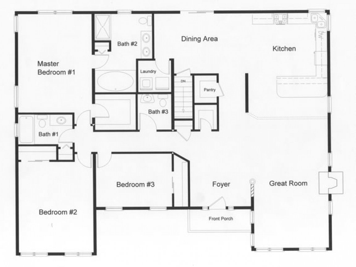 Best 3 Bedroom Ranch House Open Floor Plans Three Bedroom Two With Pictures