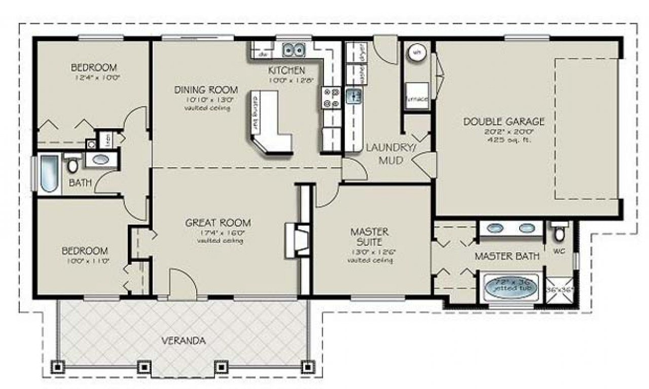 Best Two Bedroom Two Bathroom Apartment 4 Bedroom 2 Bath House Plans 4 Bedroom Ranch House Plans With Pictures