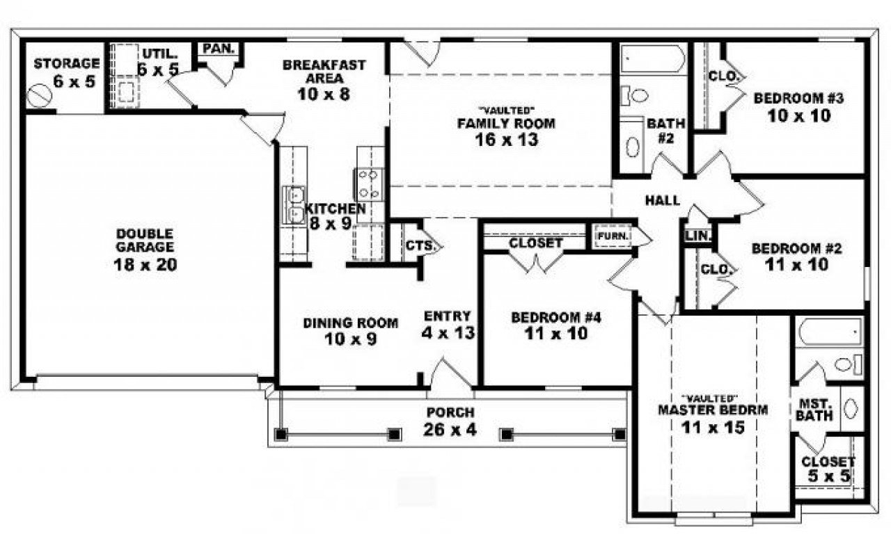 Best 4 Bedroom One Story Ranch House Plans Inside 4 Bedroom 2 With Pictures