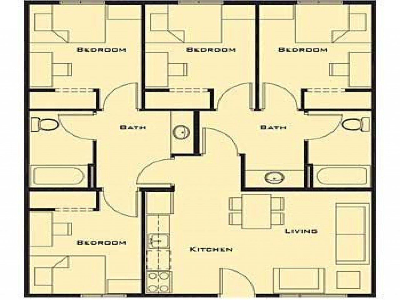 Best Small 4 Bedroom House Plans Smallest 4 Bedroom House With Pictures