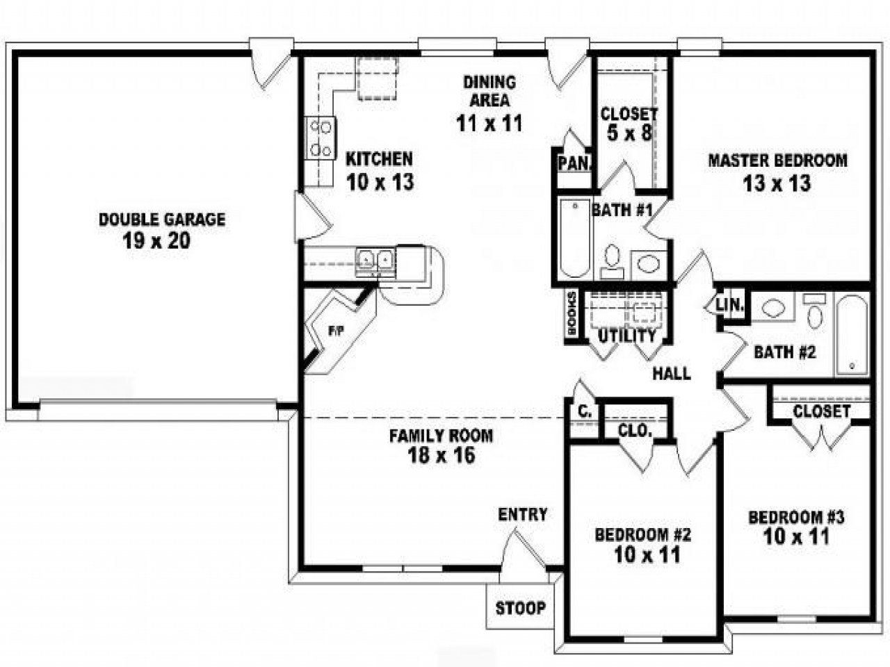 Best 3 Bedroom 2 Bath Ranch Floor Plans Floor Plans For 3 With Pictures