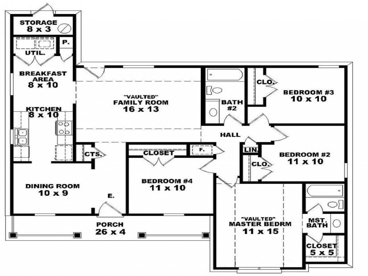 Best 4 Bedroom 2 Story House Floor Plans Master Bedroom Two With Pictures