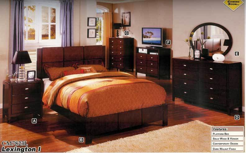 Best New 5Pc Queen All Wood Contemporary Bedroom Set Cm7823L With Pictures