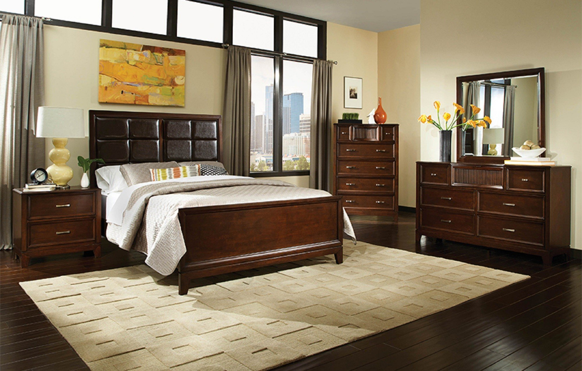 Best 4 Pc Najarian Furniture Melrose Upholstered Bedroom Set With Pictures