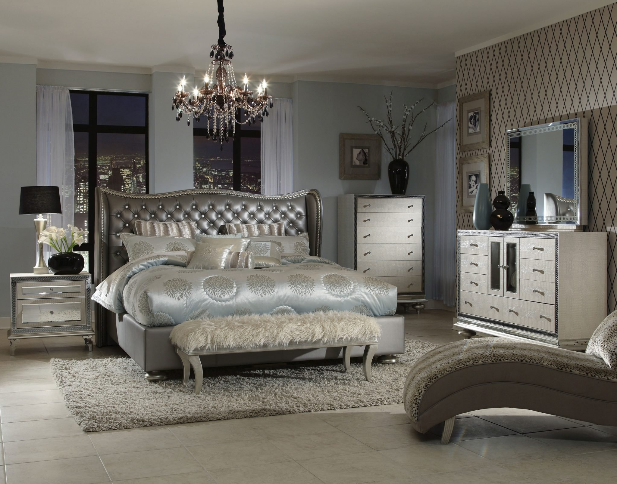 Best Aico Hollywood Swank Upholstered Bedroom Set With Pictures