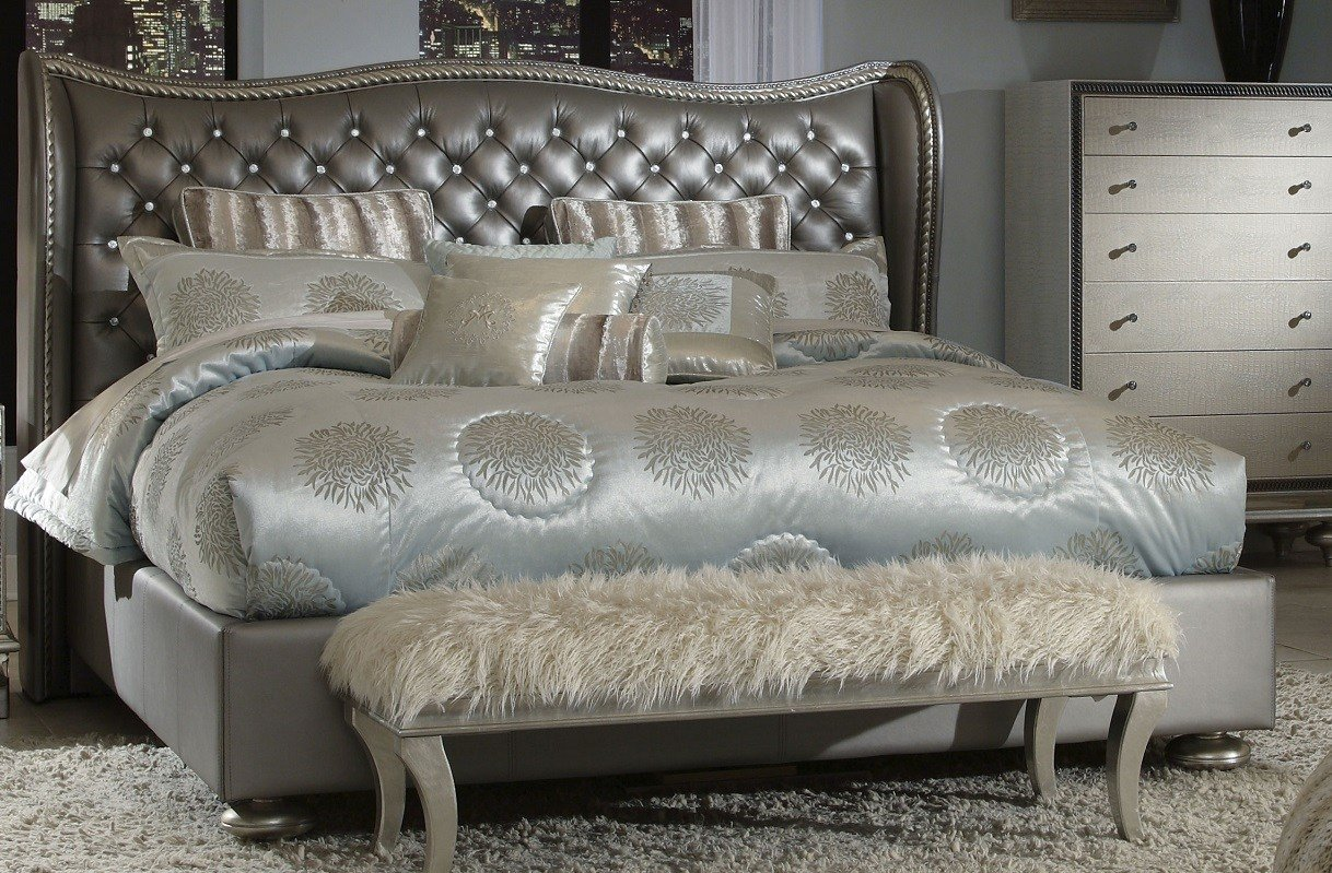 Best Aico Hollywood Swank Metallic Upholstered Bed N03000Qnup3 78 With Pictures