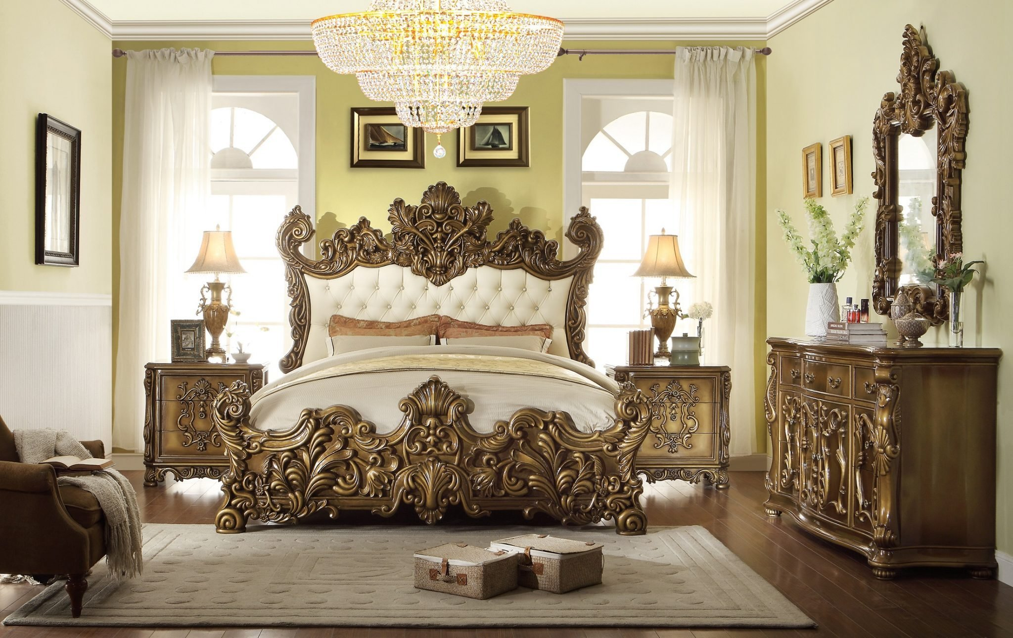Best 5 Pc Hd 8008 H*M*Y Design Golden Royal Palace Bedroom Set With Pictures