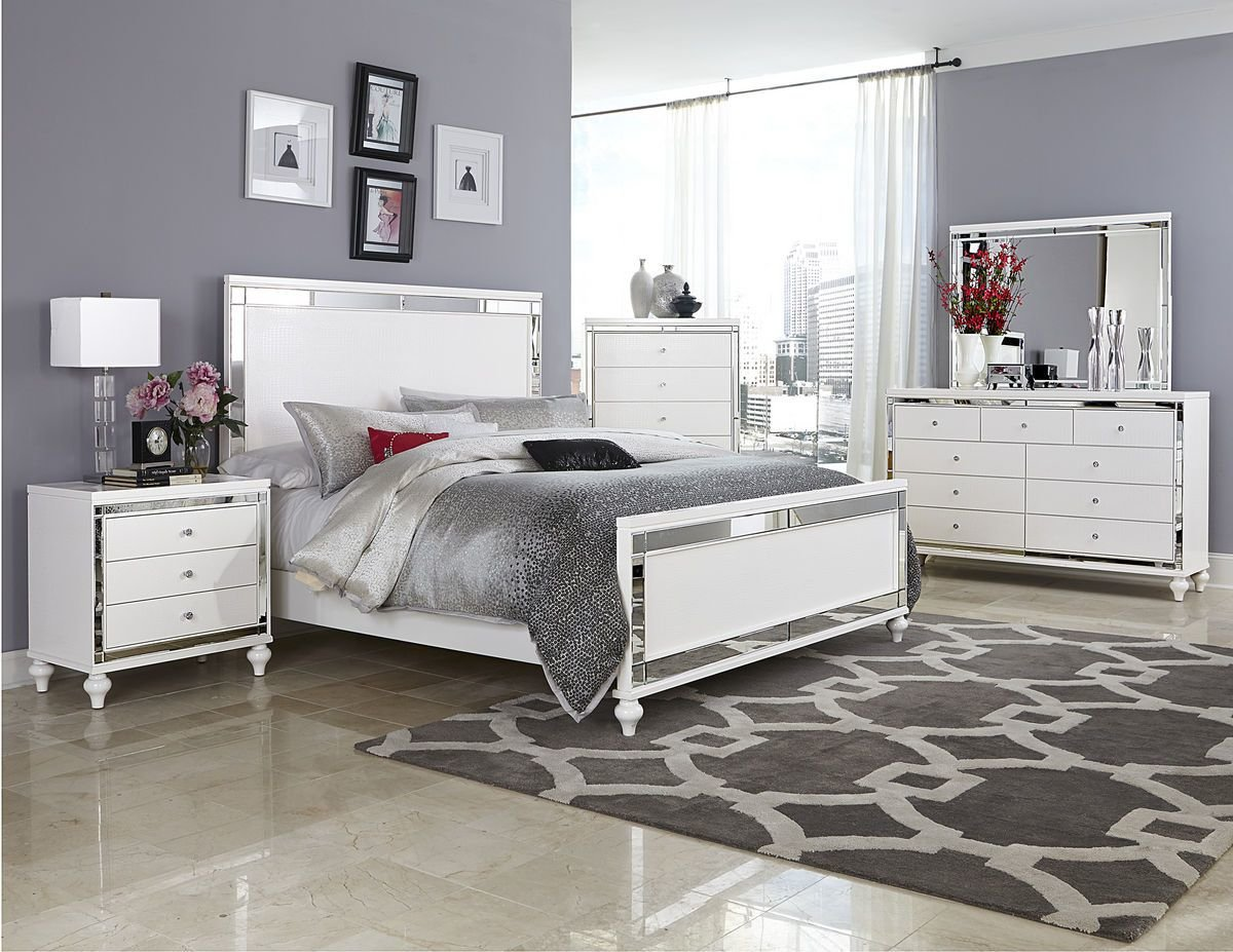 Best 4 Pc Homelegance Alonza Beveled Mirror Frame Bedroom Set With Pictures
