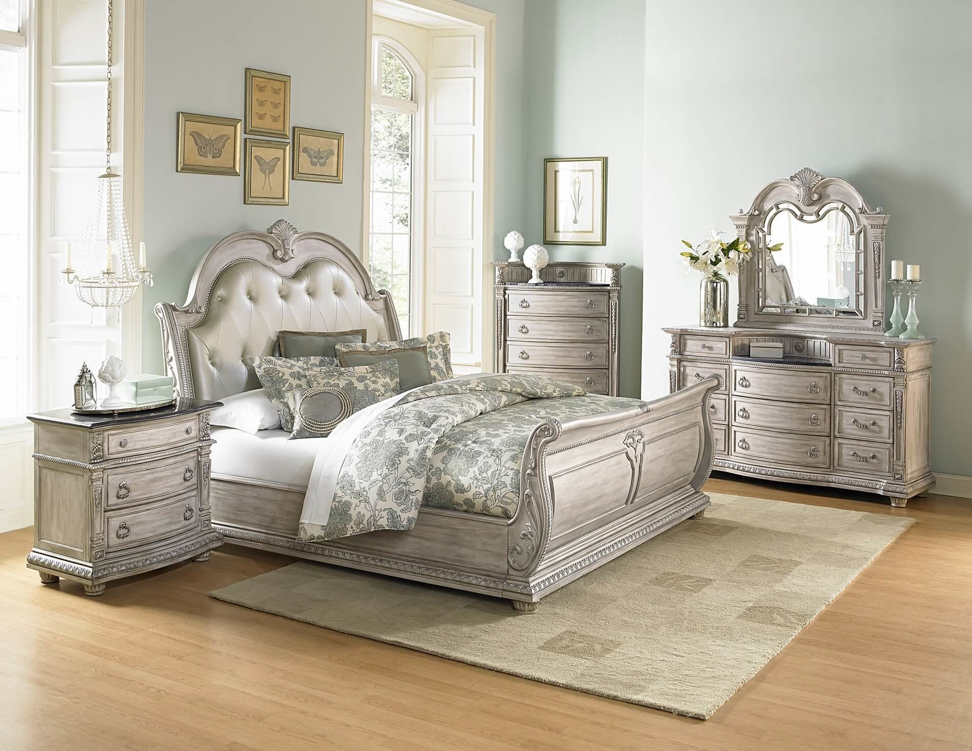Best 4 Piece Homelegance Palace Ii White Wash Sleigh Bedroom Set With Pictures