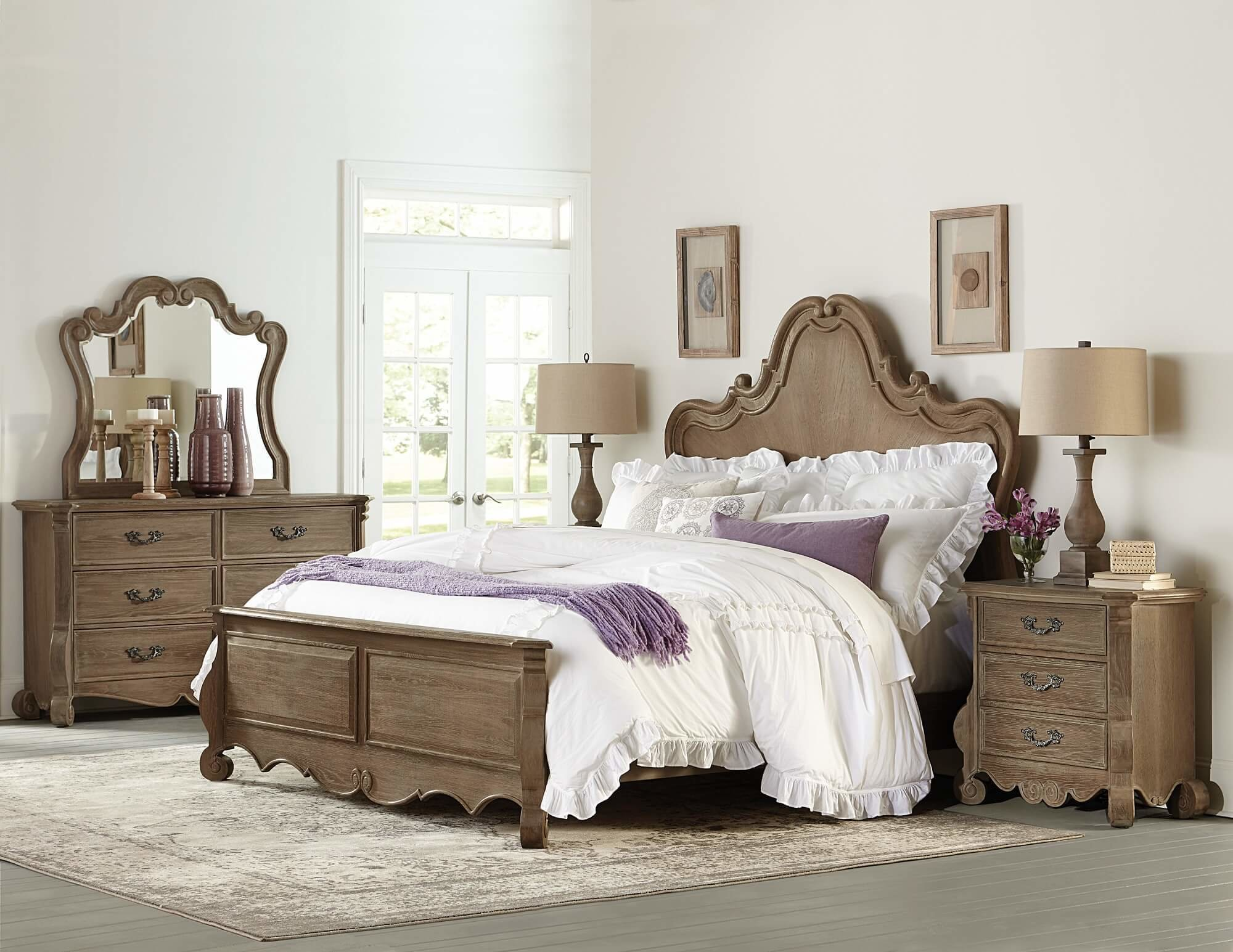 Best 4 Piece Homelegance Chrysanthe Panel Bedroom Set Weathered With Pictures