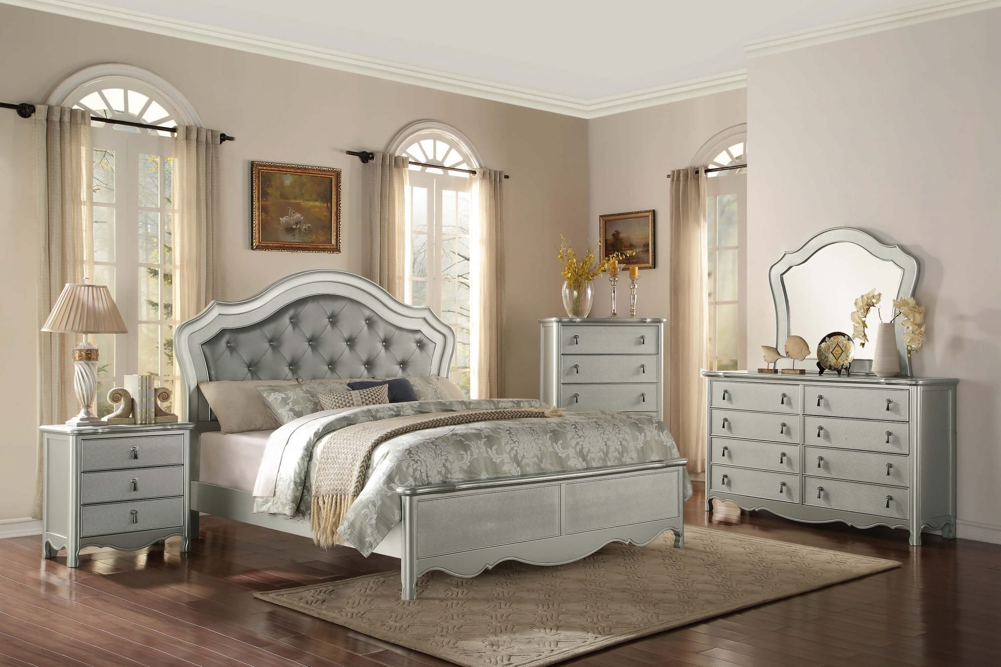 Best 4 Piece Homelegance Toulouse Silver Finish Panel Bedroom Set With Pictures