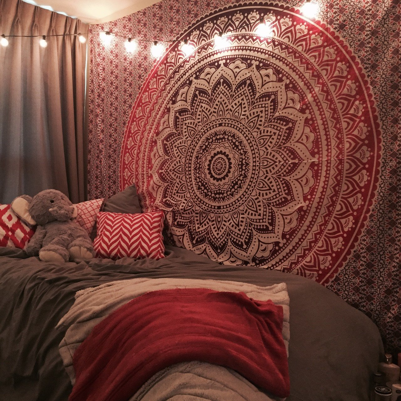 Best Maroon Floral Ombre Mandala Wall Tapestry Bedding Beach Throw Royalfurnish Com With Pictures