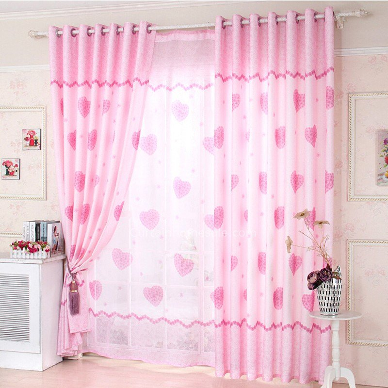 Best Girls Bedroom Heart Shaped Eco Friendly Dusty Pink Curtains With Pictures
