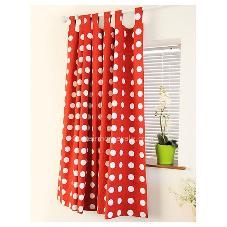 Best Girls Bedroom Or Living Room Cotton Red And White Polka Dot Curtains With Pictures