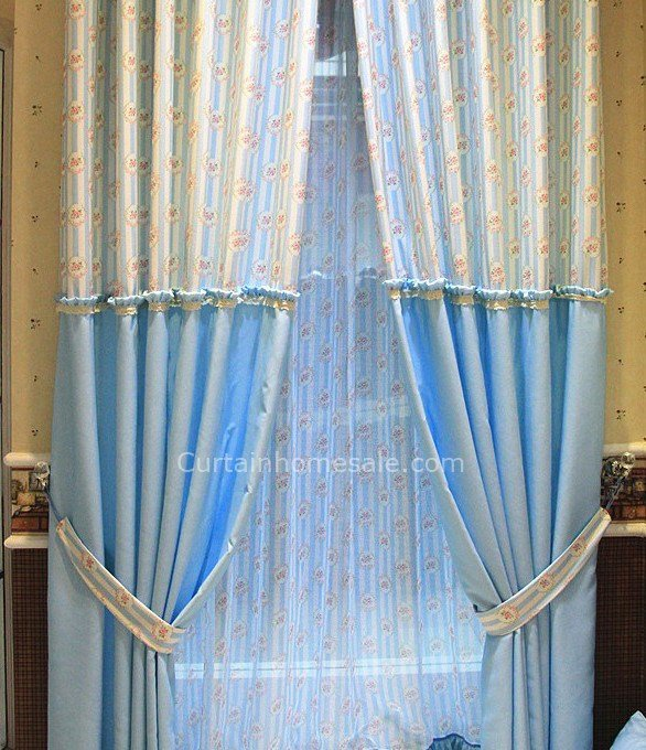 Best Country Blue Floral Bow Tie Bedroom Curtains Uk With Pictures