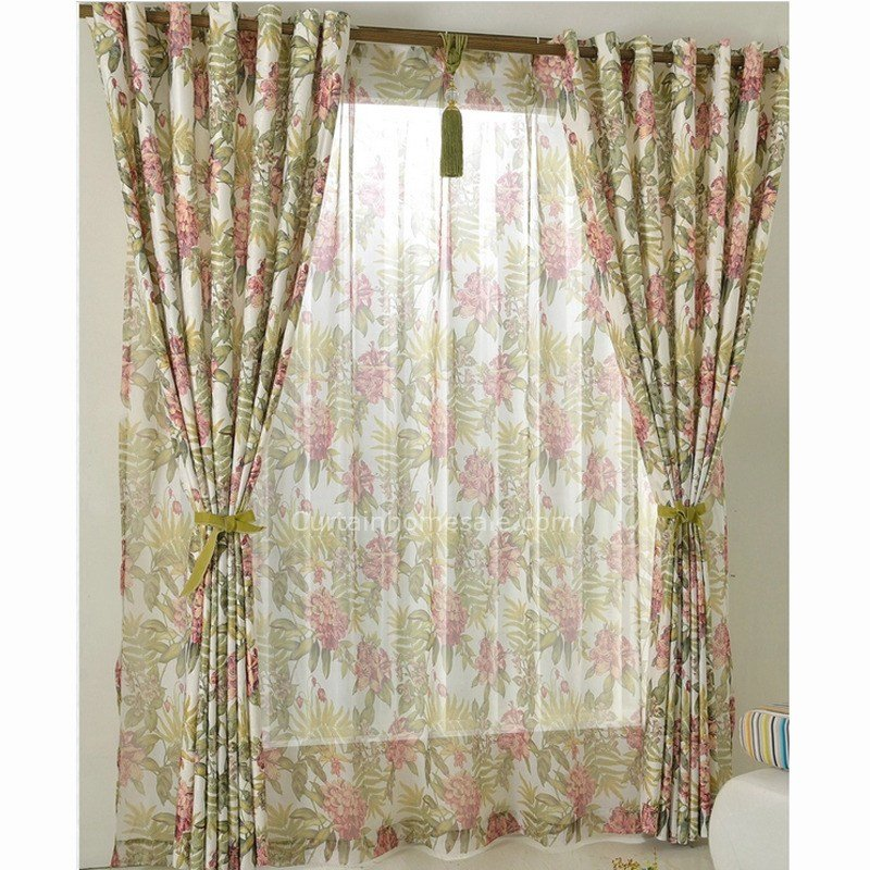 Best Eco Friendly Privacy Printed Floral Country Style Bedroom Curtain With Pictures