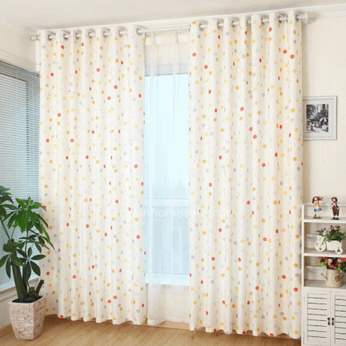Best Lovely Polka Dot Linen And Cotton Quality Bedroom Kids Curtains With Pictures