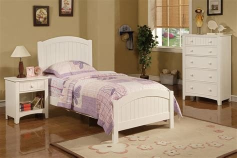 Best 3Pc Bedroom Set Twin Size Cottage Style Pottery White Bed Night Stand Dresser With Pictures