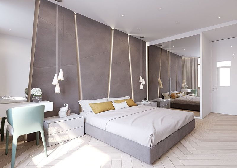 Best The Angular Upholstered Headboard In This Modern Bedroom Almost Takes Up The Entire Wall With Pictures