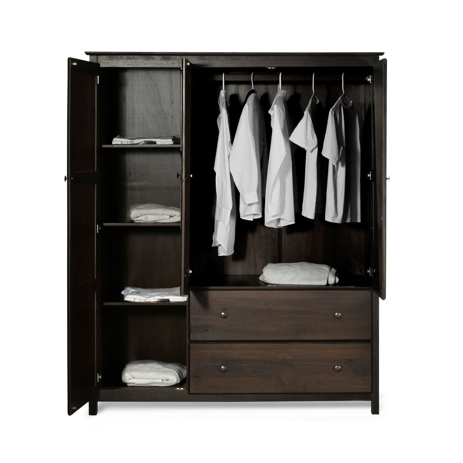 Best Espresso Wood Finish Bedroom Wardrobe Armoire Cabinet With Pictures