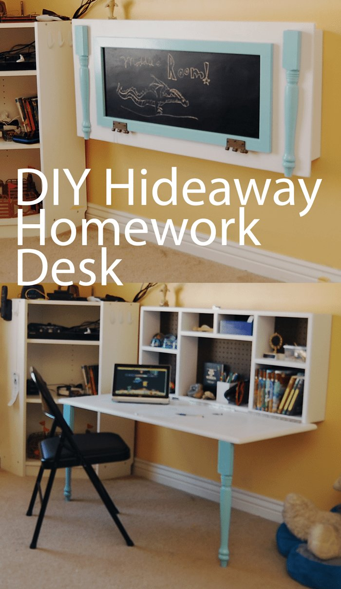 Best Diy Kids Homework Hideaway Wall Desk The Organized Mom With Pictures