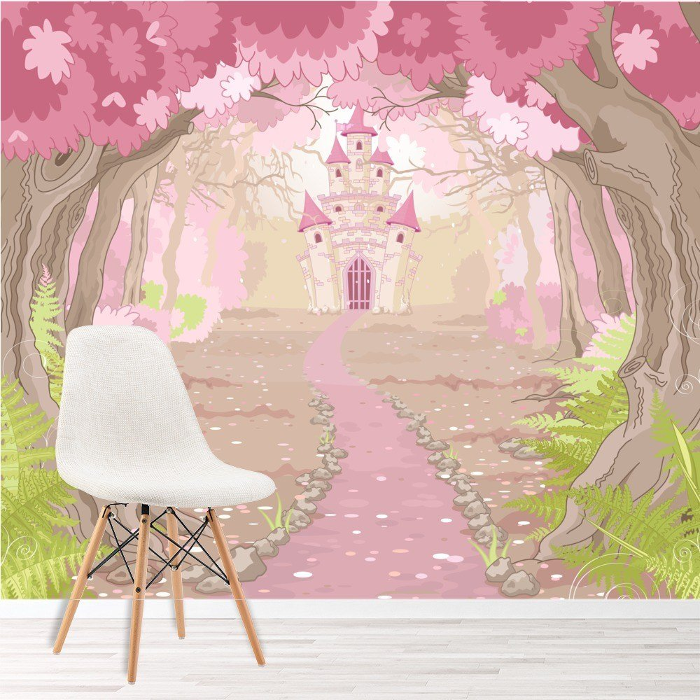 Best Pink Princess Castle Wall Mural Fairytale Photo Wallpaper With Pictures
