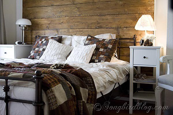 Best Fall Colors And Repurposed Wood Headboard In Bedroom With Pictures