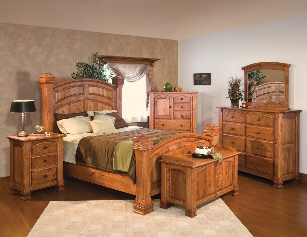 Best Luxury Amish Rustic Cherry Bedroom Set Solid Wood Full With Pictures