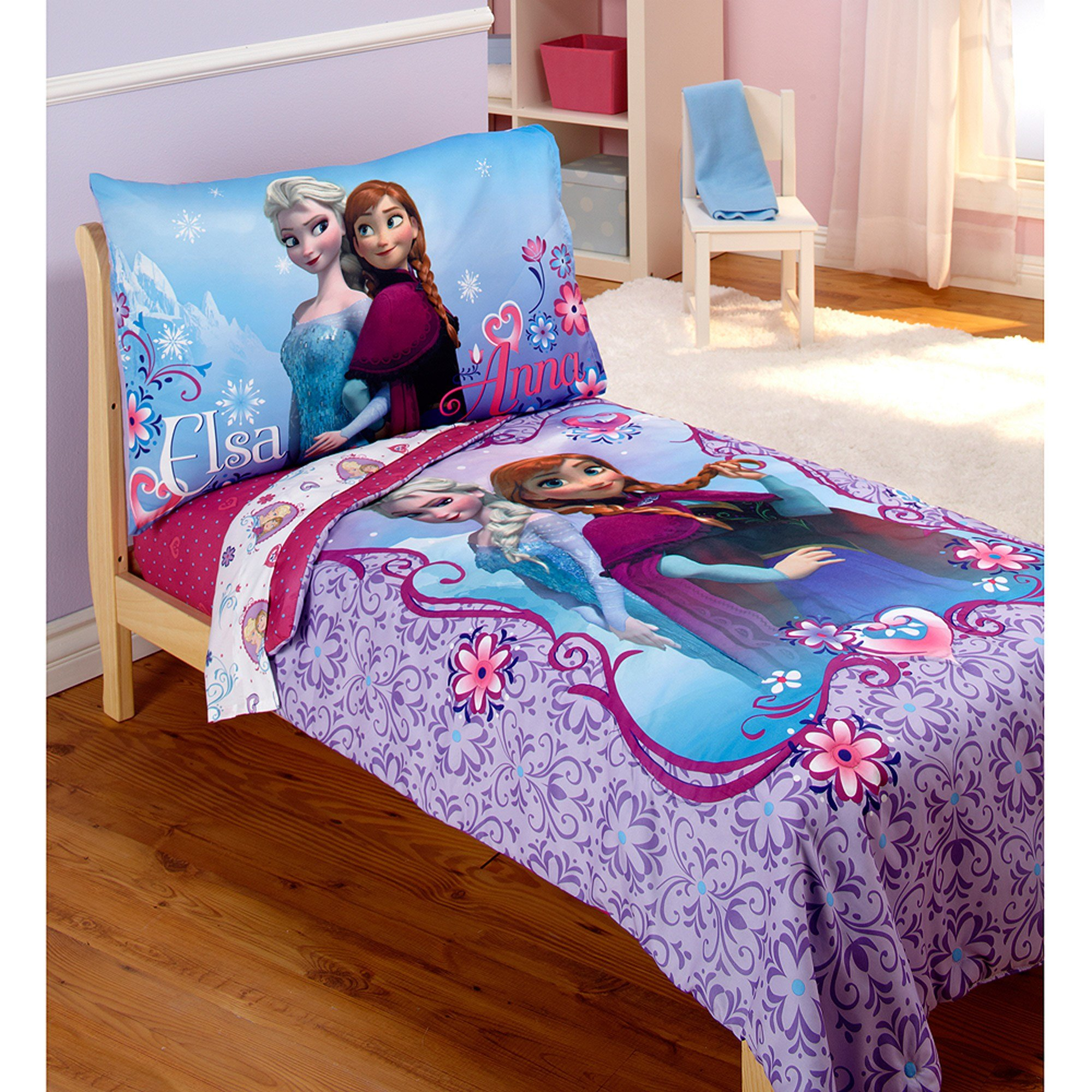 Best Disney Frozen Elsa Anna 4Pc Toddler Bedding Set With Pictures